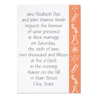 Attractive Forces in Coral Wedding Invitation