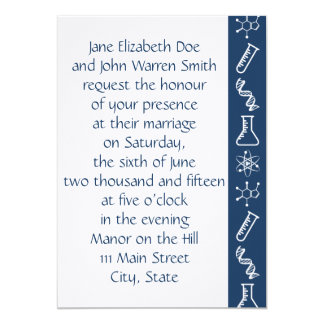 Attractive Forces in Navy Wedding Invitation