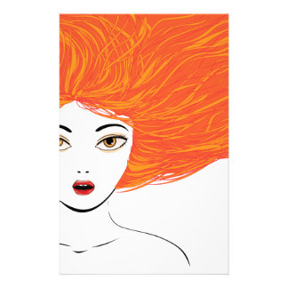 Attractive girl with red hair stationery