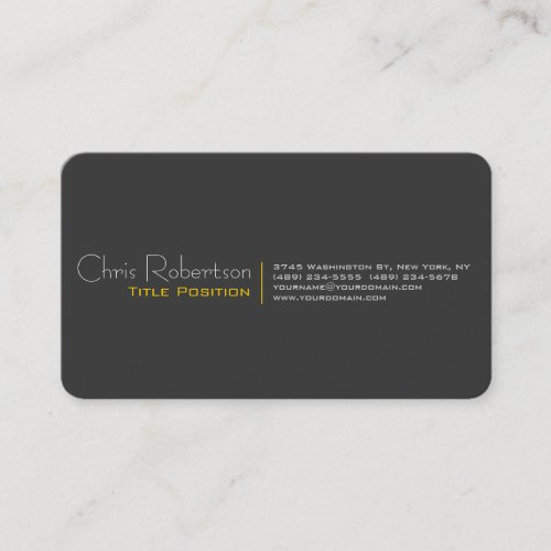 Attractive Gray Yellow Charming Business Card