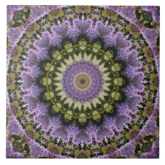 Attractive Green and Purple Lilac Mandala Ceramic Tile