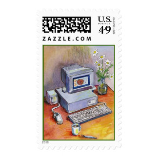 ATTRACTIVE HOME OFFICE DESK DAISY POSTAGE STAMPS