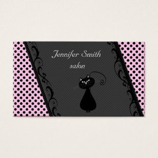 Attractive lase black cat stripes dots light pink business card