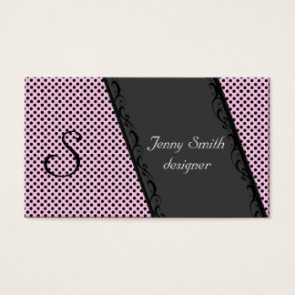 Attractive lase black stripes dots light pink business card