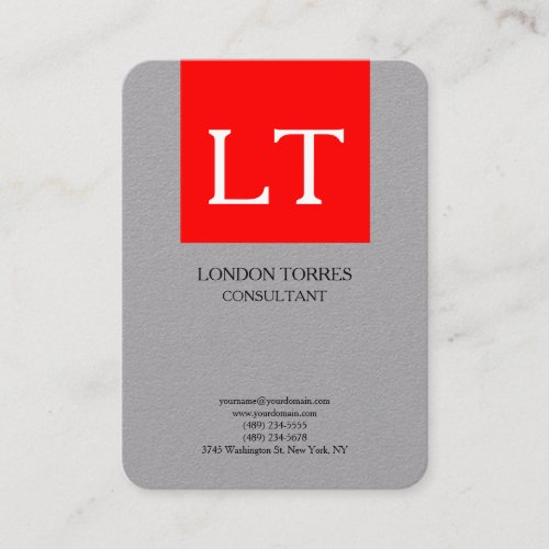 Attractive Monogram Grey Red White Plain Business Card