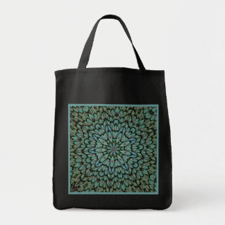 Attractive Peacock Feathers Reusable Black Tote Bag
