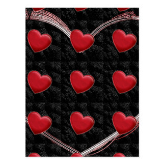 Attractive Red Heart Black Pop Art Love Postcard