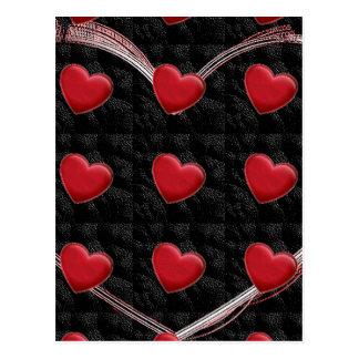 Attractive Red Heart Black Pop Art Love Postcard