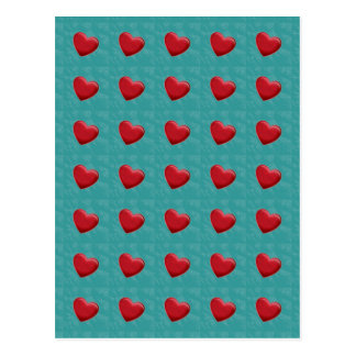 Attractive Red Hearts Grey Blue Pop Art Postcard