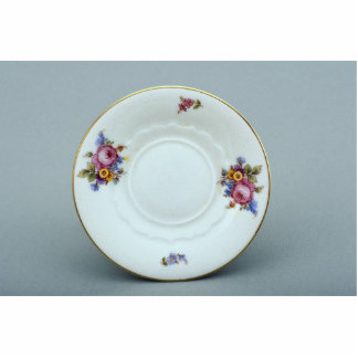 Attractive saucer plate with flowers design standing photo sculpture