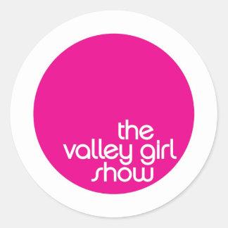 Atuendo de la demostración del chica del valle pegatina redonda
