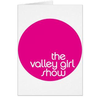 Atuendo de la demostración del chica del valle tarjeta de felicitación