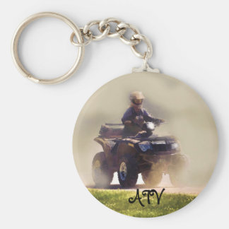 ATV All Terrain Vehicle & Driver in the Dust Keychain