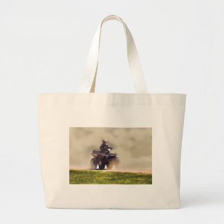 ATV All Terrain Vehicle & Driver in the Dust Large Tote Bag