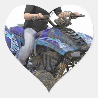 ATV Blue Mud Rider Heart Sticker