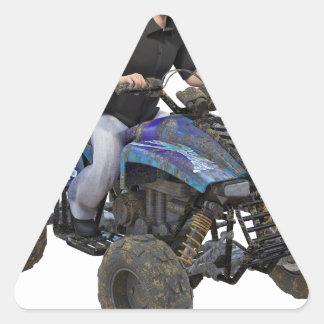 ATV Blue Mud Rider Triangle Sticker