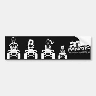 ATV Family Stick Figure (Dad, Mom, Daughter, Son) Car Bumper Sticker