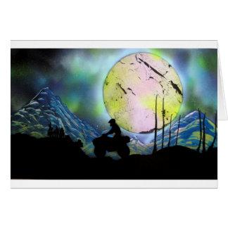 ATV Four Wheeler Space Landscape Spray Paint Art Card