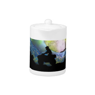 ATV Four Wheeler Space Landscape Spray Paint Art Teapot