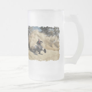 ATV on Dirt Road in Dust Cloud w/Edges Frosted Glass Beer Mug