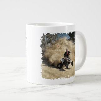 ATV on Dirt Road in Dust Cloud w/Edges Large Coffee Mug