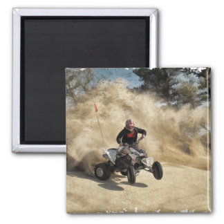 ATV on Dirt Road in Dust Cloud w/Edges Magnet