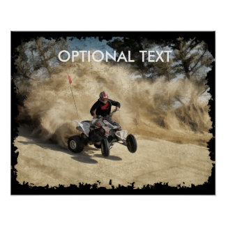 ATV on Dirt Road in Dust Cloud w/Edges Poster