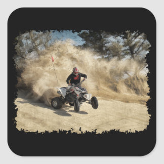 ATV on Dirt Road in Dust Cloud w/Edges Square Sticker