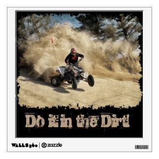 ATV on Dirt Road in Dust Cloud w/Edges Wall Skin