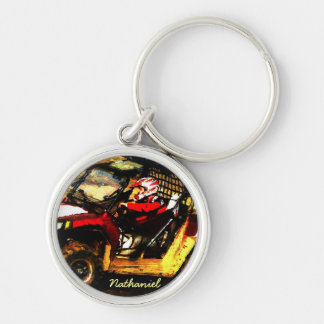 ATV Rider - All Terrain Extreme  Motorsports Silver-Colored Round Keychain