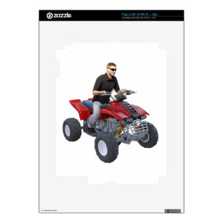 ATV Rider in red Decals For iPad 2