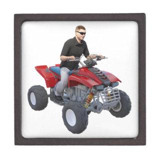 ATV Rider in red Keepsake Box