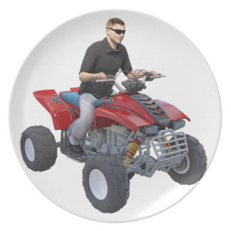 ATV Rider in red Plate