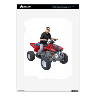 ATV Rider in red Skin For iPad 3