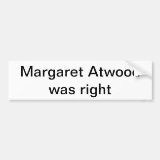 Atwood bumper sticker car bumper sticker