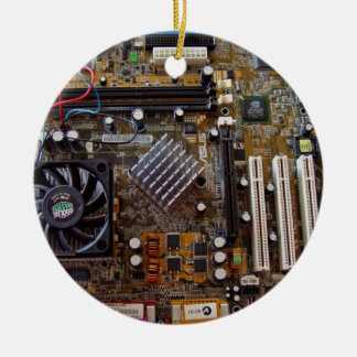 ATX motherboard view from above Double-Sided Ceramic Round Christmas Ornament