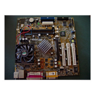 ATX motherboard view from above Poster