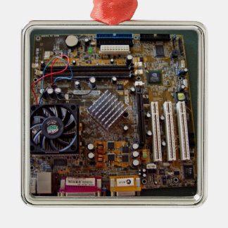 ATX motherboard view from above Square Metal Christmas Ornament
