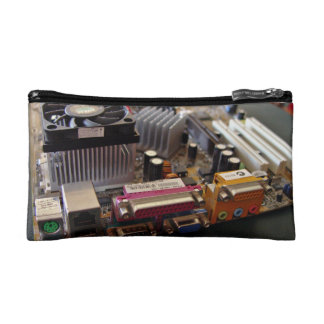 ATX motherboard view from connector edge Makeup Bags