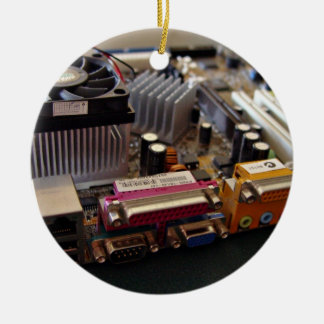 ATX motherboard view from connector edge Double-Sided Ceramic Round Christmas Ornament