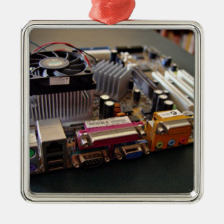 ATX motherboard view from connector edge Square Metal Christmas Ornament