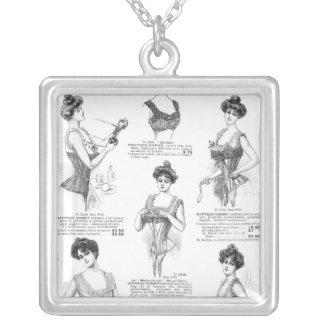 Au Bon Marche Vintage French Corsets Square Pendant Necklace