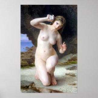Au Coquillage de Bouguereau - de Femme Posters