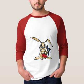AU- Funky Bunny Rabbit Playing the Bagpipes T-shir T-Shirt