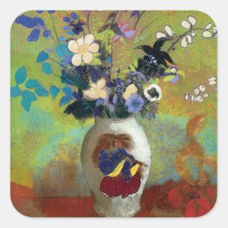 Au Guerrier Japonais (florero japonés del florero Pegatina Cuadrada