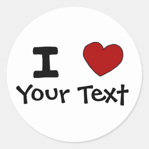 AU- I Heart Love Custom Design Classic Round Sticker