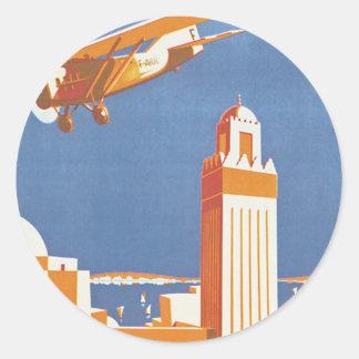 Au Maroc Par Avion Classic Round Sticker
