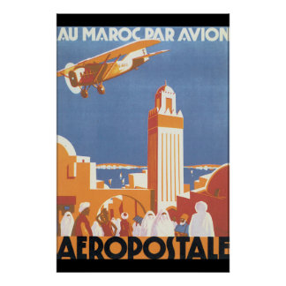 Au Maroc Par Avion Vintage Travel Poster