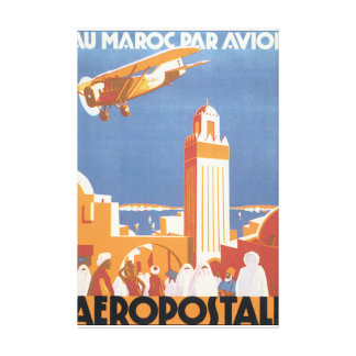 Au Maroc Par Avion Vintage Travel Poster Canvas Print