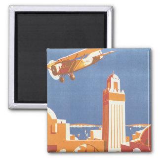 Au Maroc Par Avion Vintage Travel Poster Magnet
